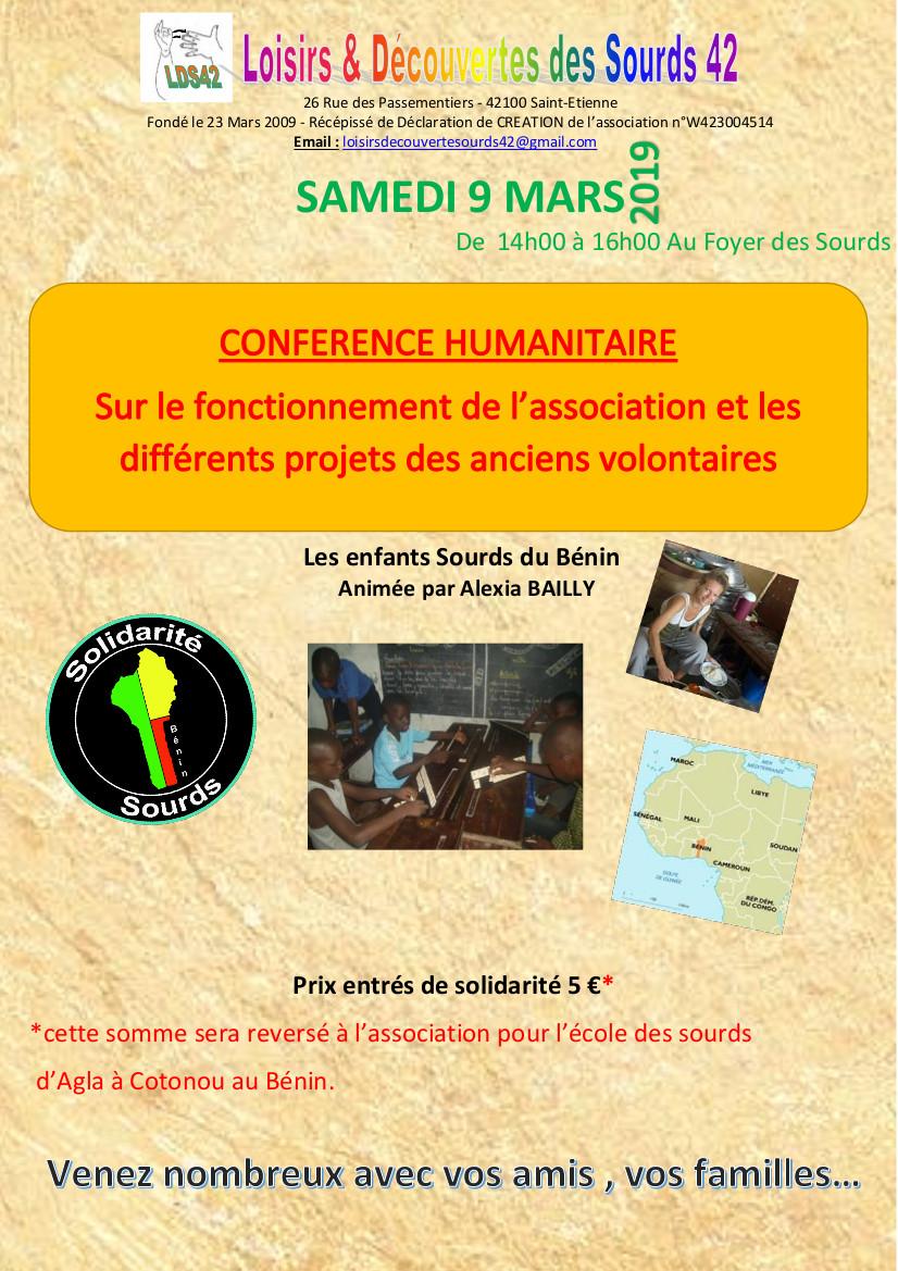 Affiche samedi 9 mars 2019 LDS42 Conférence Bénin
